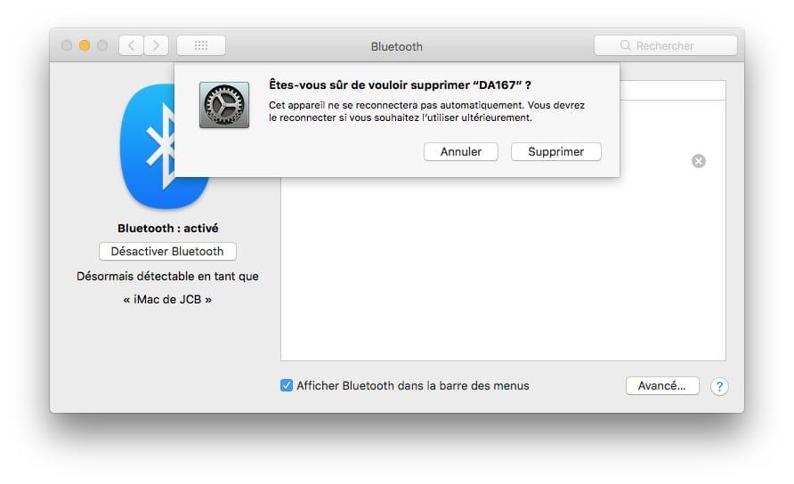 supprimer casque bluetooth sur mac