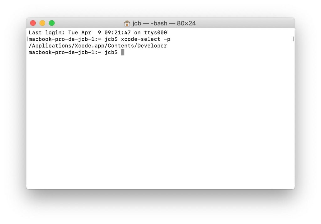 verifier que xcode mac est bien installe