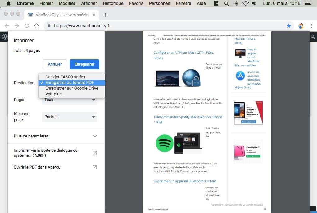 Enregistrer une page web en PDF sur Mac avec Chrome
