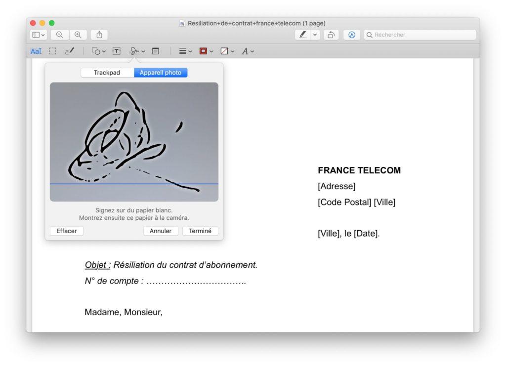 creer signature mac avec appareil photo