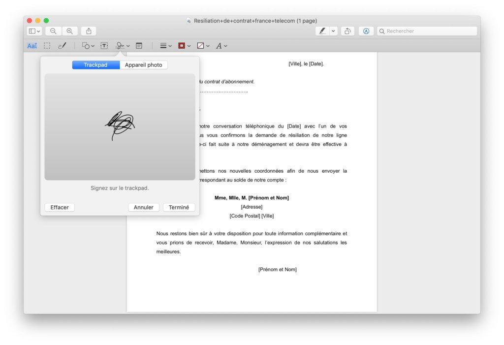 signer avec le trackpad du mac