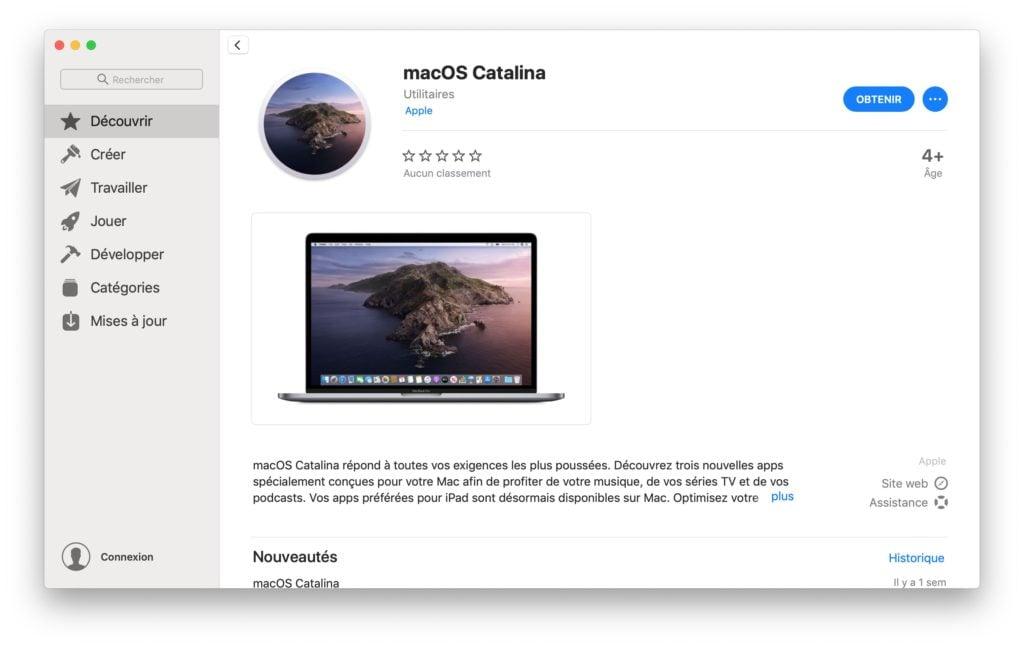 Clé USB bootable de macOS Catalina telecharger sur app store