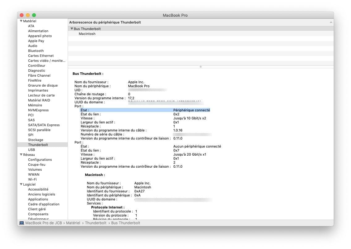 Utiliser un Macbook capot ferme avec liaison Thunderbolt