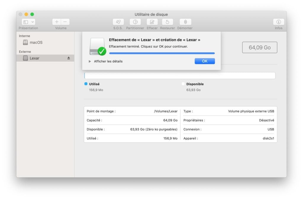 effacer cle usb pour creation disque amorcage macos Catalina