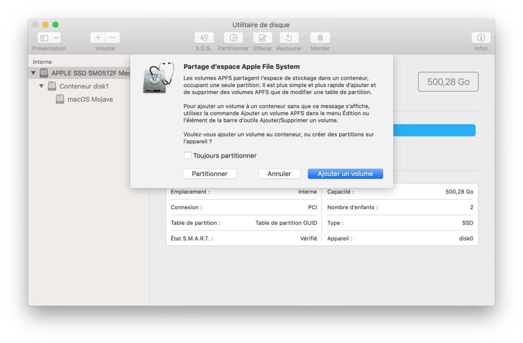 Installer macOS Catalina en dual boot avec macOS Mojave ajouter un volume