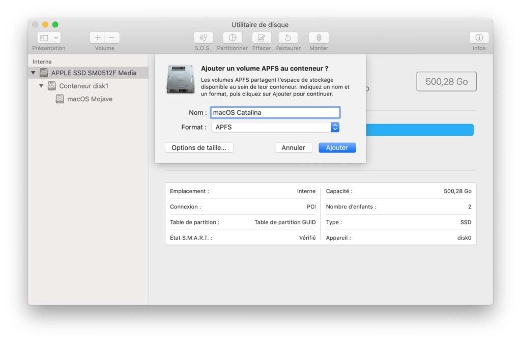 ajouter un volume APFS au conteneur pour macOS Catalina