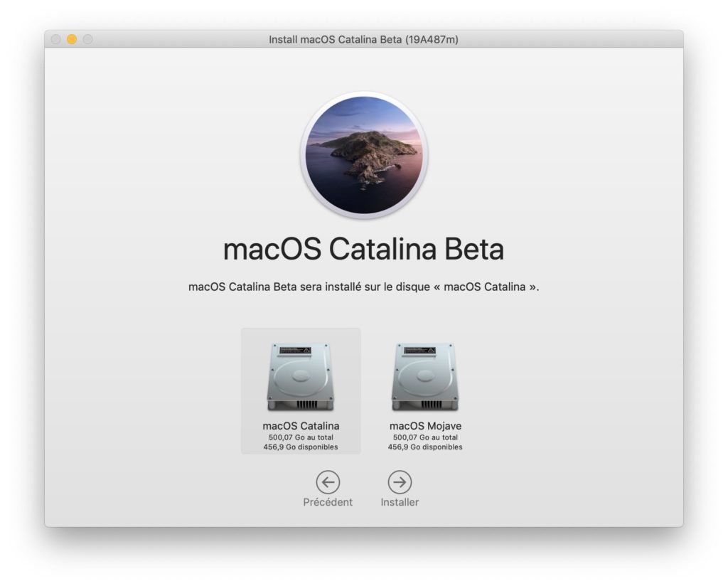 choisir partition pour installation macos catalina mojave