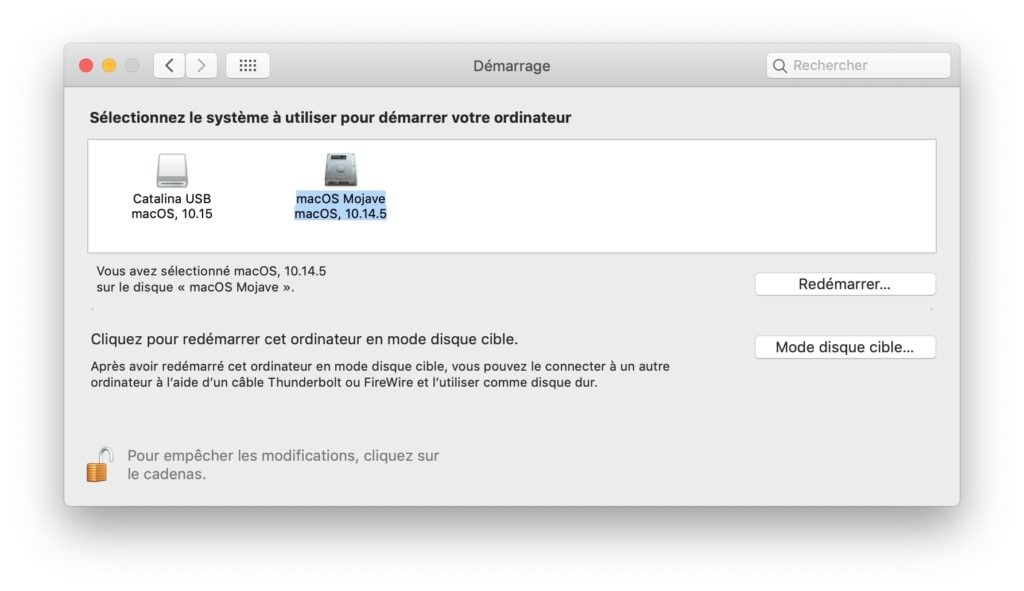 dual boot macos choix disque de demarrage