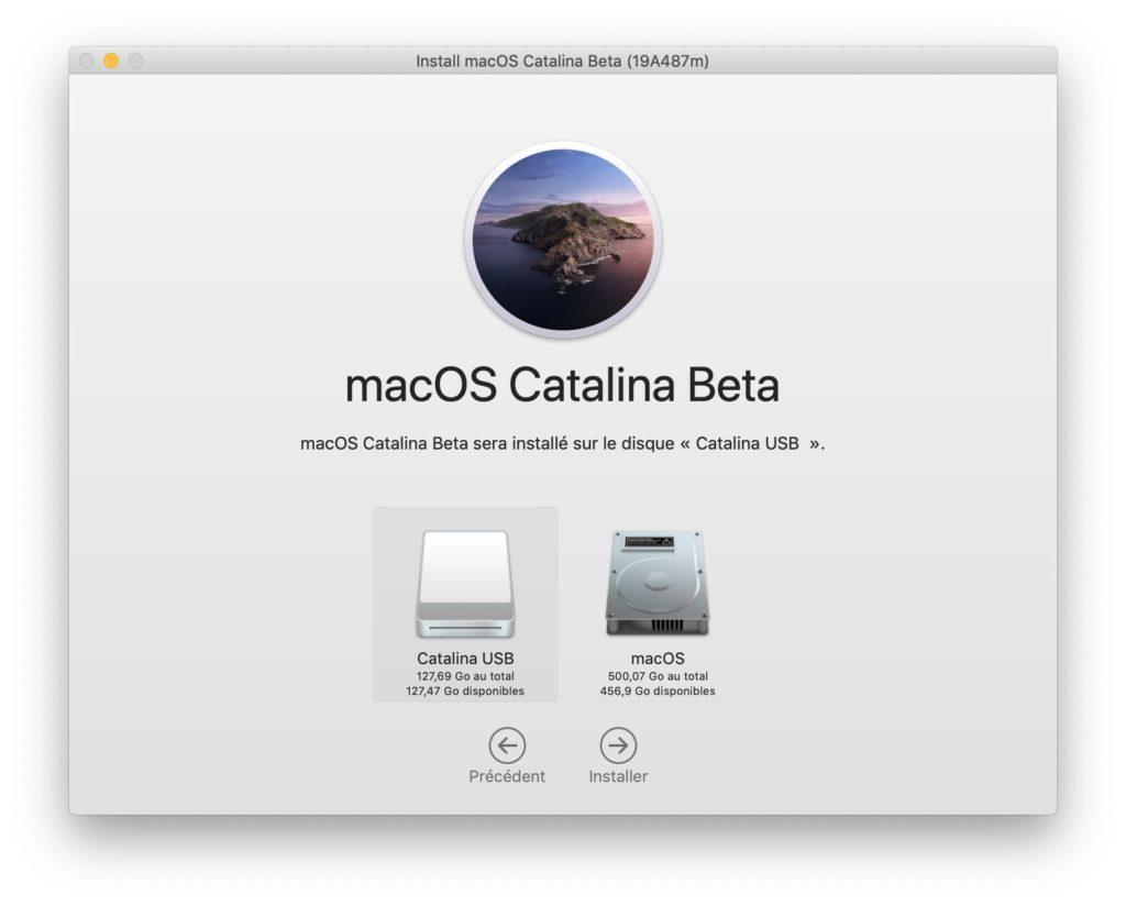 installer catalina sur disque usb