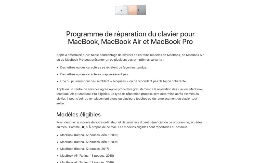 Programme de reparation du clavier pour MacBook MacBook Air et MacBook Pro