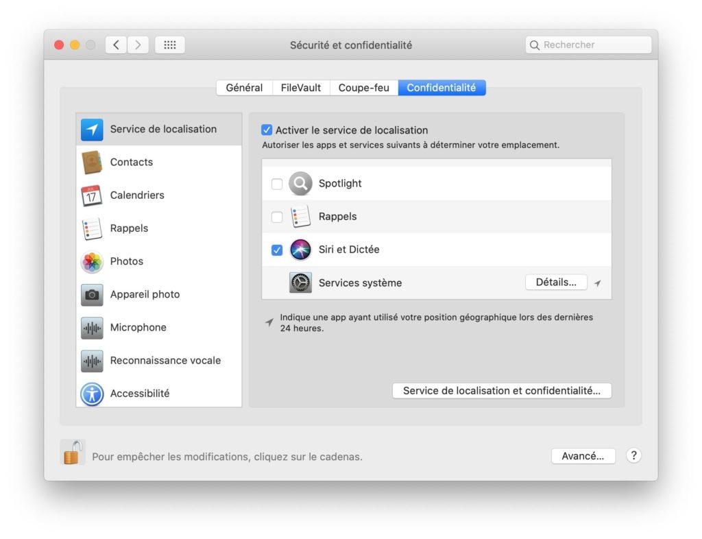 service de localisation mac configurer services systeme