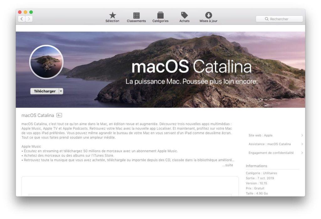 Telecharger le fichier d installation complet de macOS Catalina depuis mojave ou high sierra