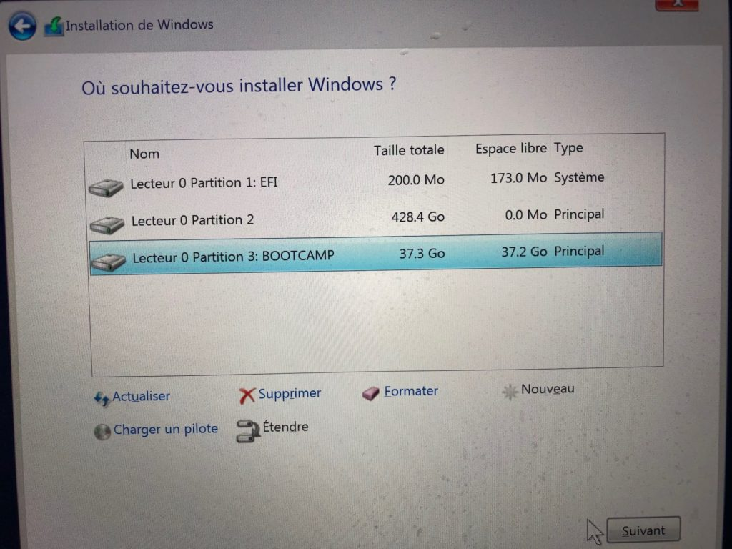 formater partition bootcamp si necessaire