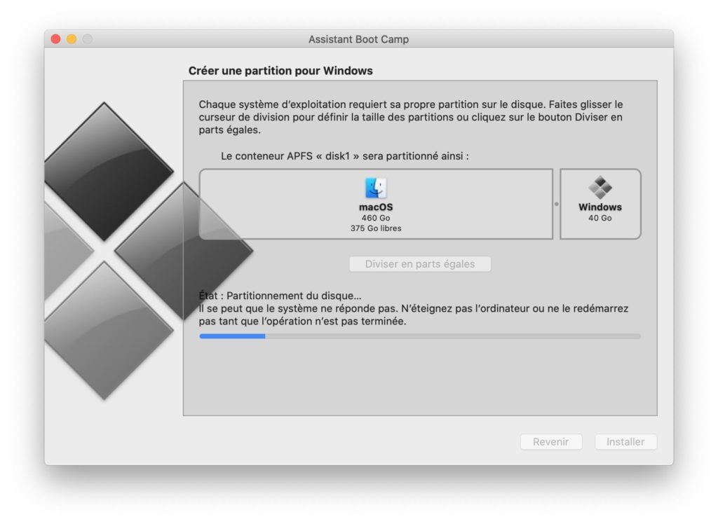 partitionnement du disque macos pour installer windows 10