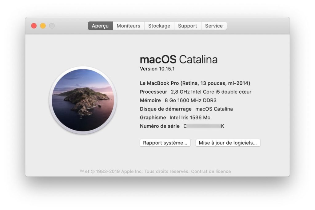 Identifier l annee de son Mac a propos de ce mac