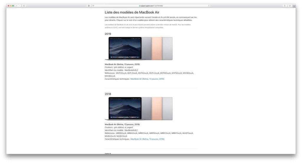 liste des modeles de mac