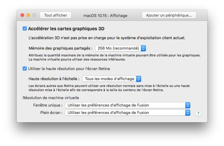 acceleration graphique 3D macos catalina VM