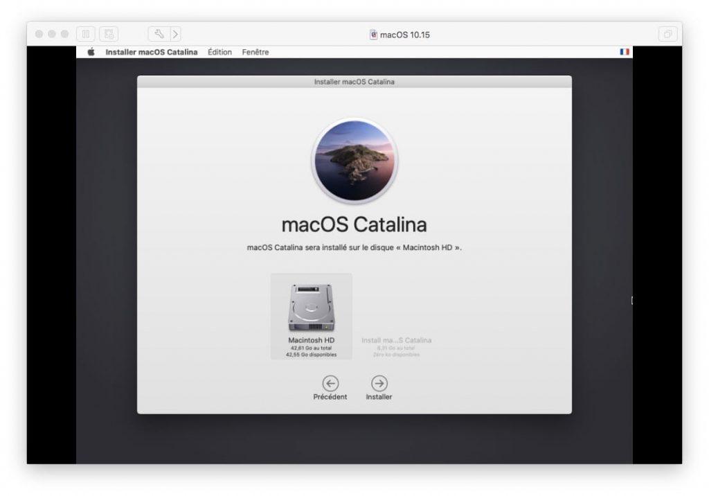 macos catalina sera installe sur le disque macintosh HD