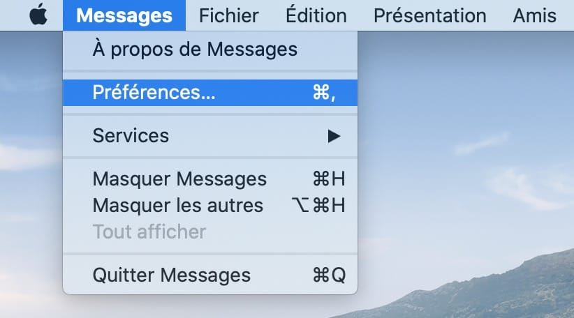 Desactiver Messages sur Mac preferences