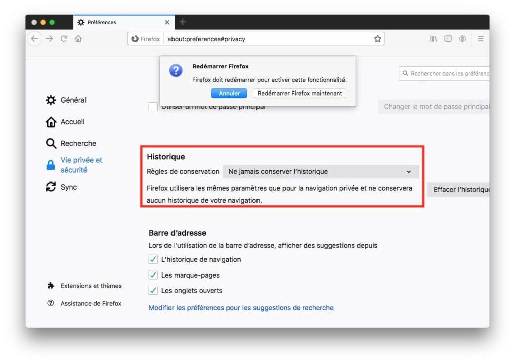 Lancer la navigation privee automatiquement pour Firefox Mac