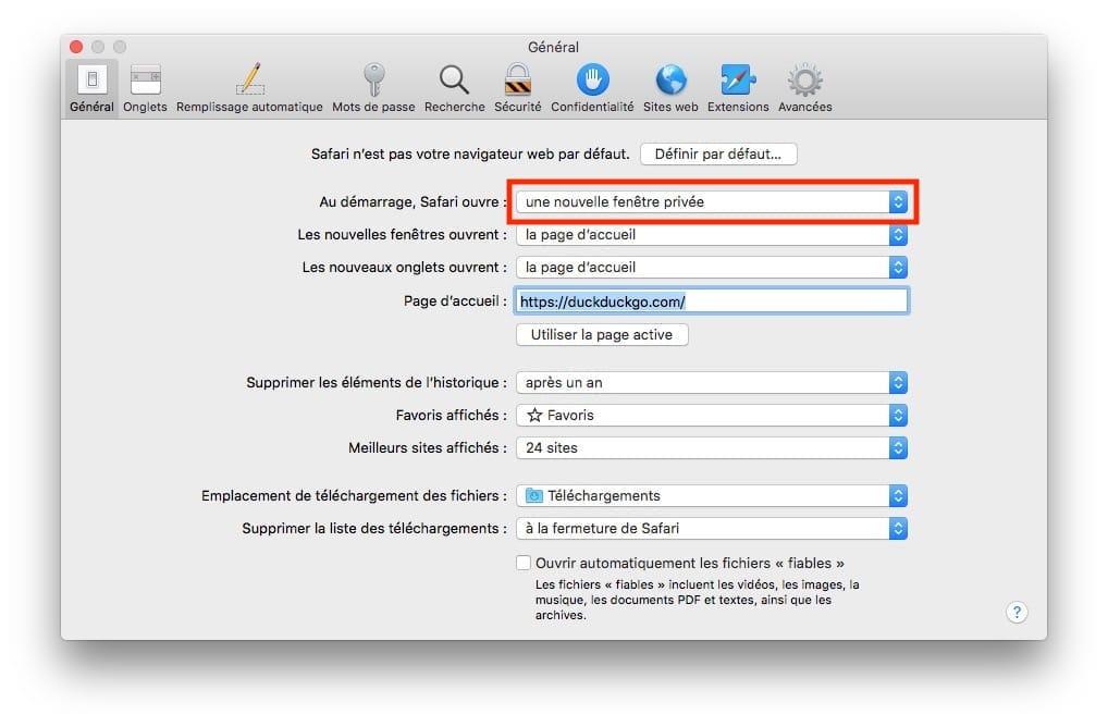 Lancer la navigation privée automatiquement sur Mac pour Safari