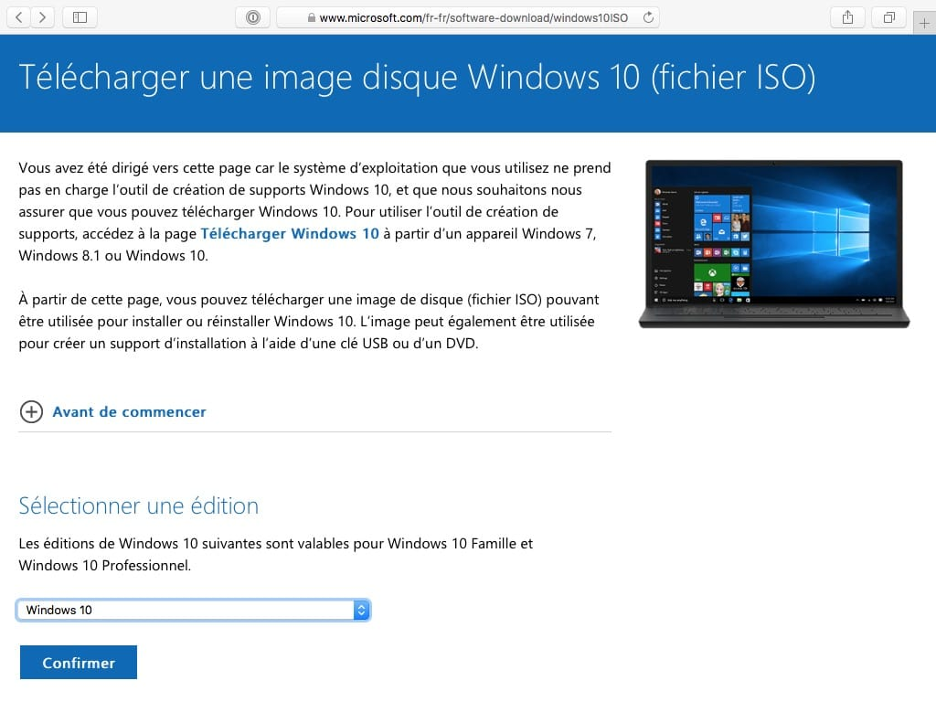 Installer Windows 10 sur Mac telecharge iso Windows