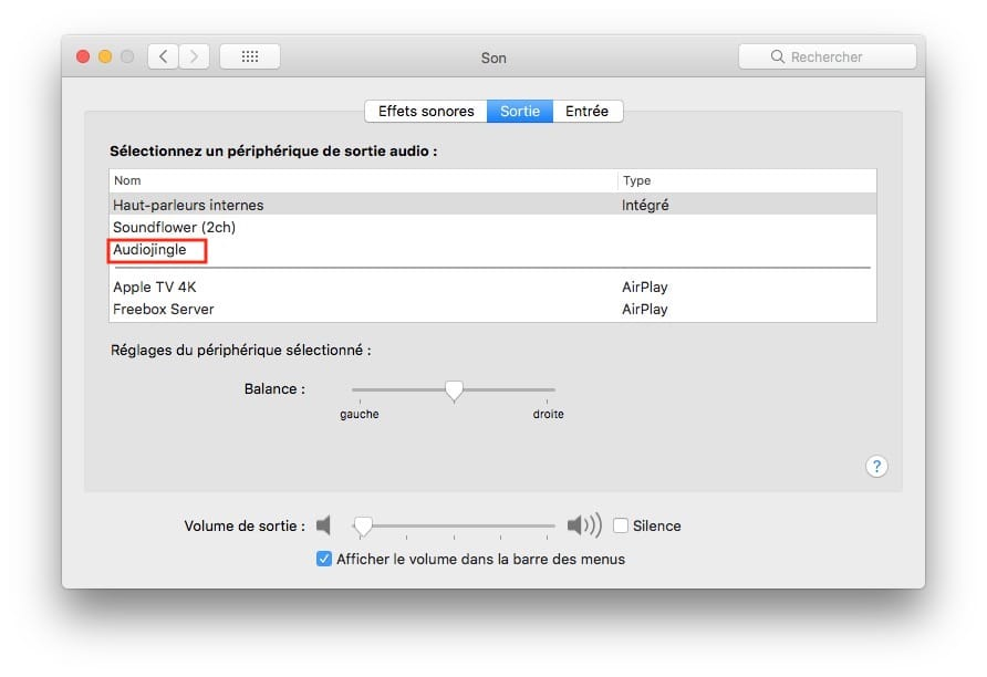 Supprimer un périphérique de sortie audio sur Mac Preferences systeme