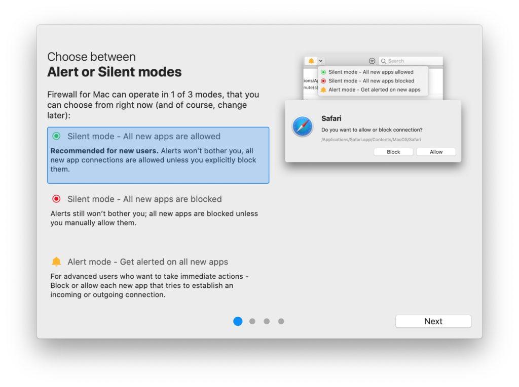 firewall mac mode silencieux