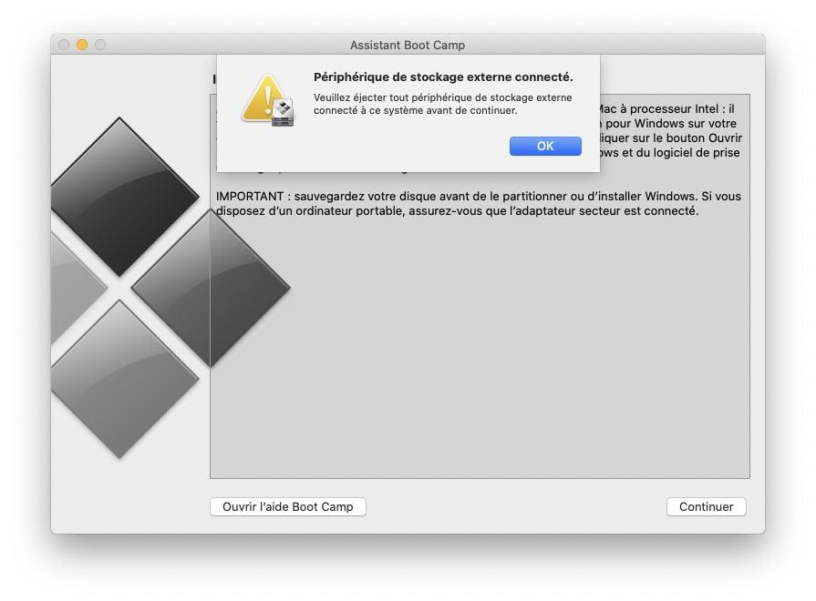 Installer Windows 10 pour Mac sur un disque externe impossible solution