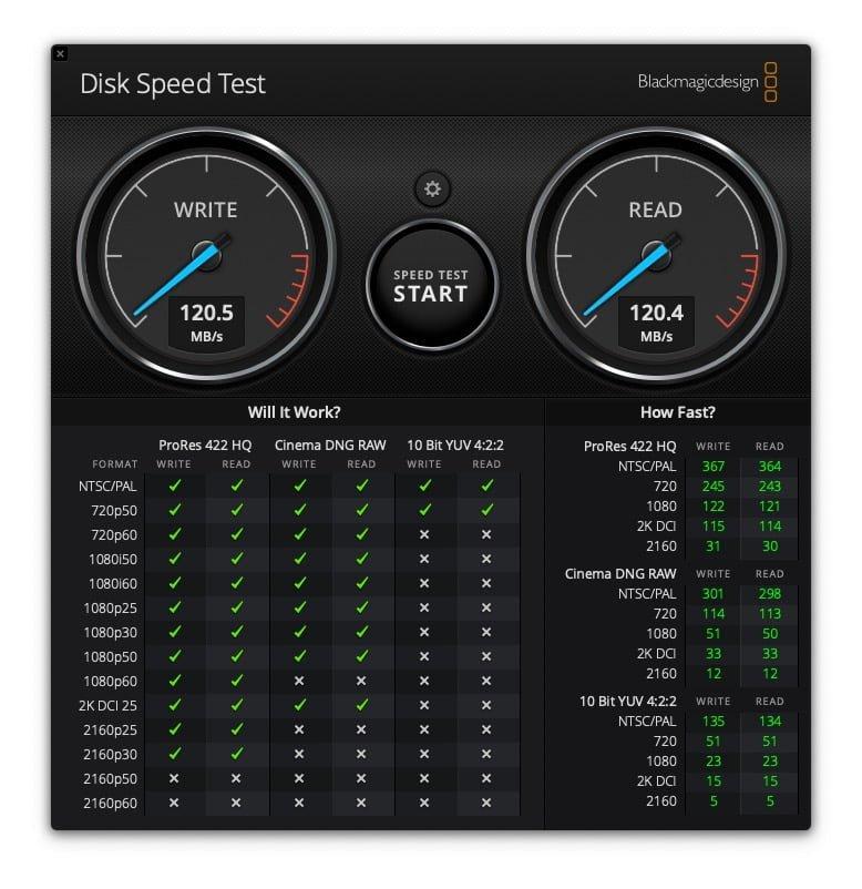 MyPassPort Ultra 4To BlackMagic Disk Speed Test