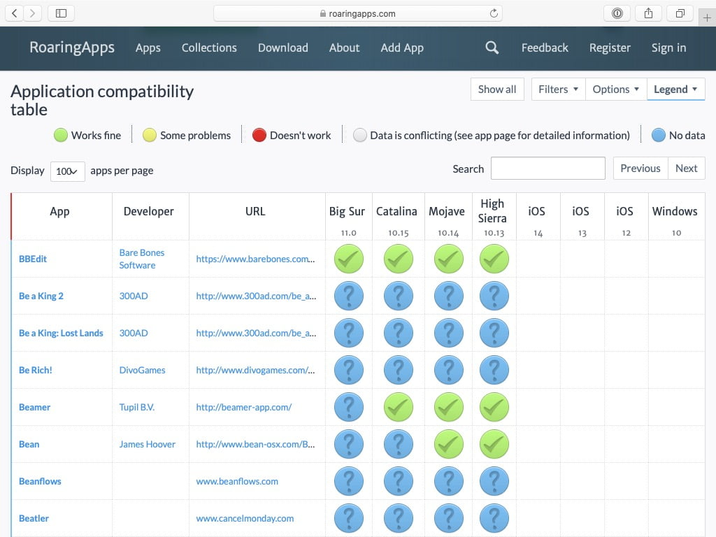 liste des Apps compatibles macOS Big Roaringapps