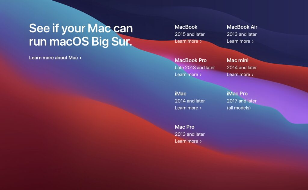 Installer macOS Big 11.0 liste des Mac compatibles