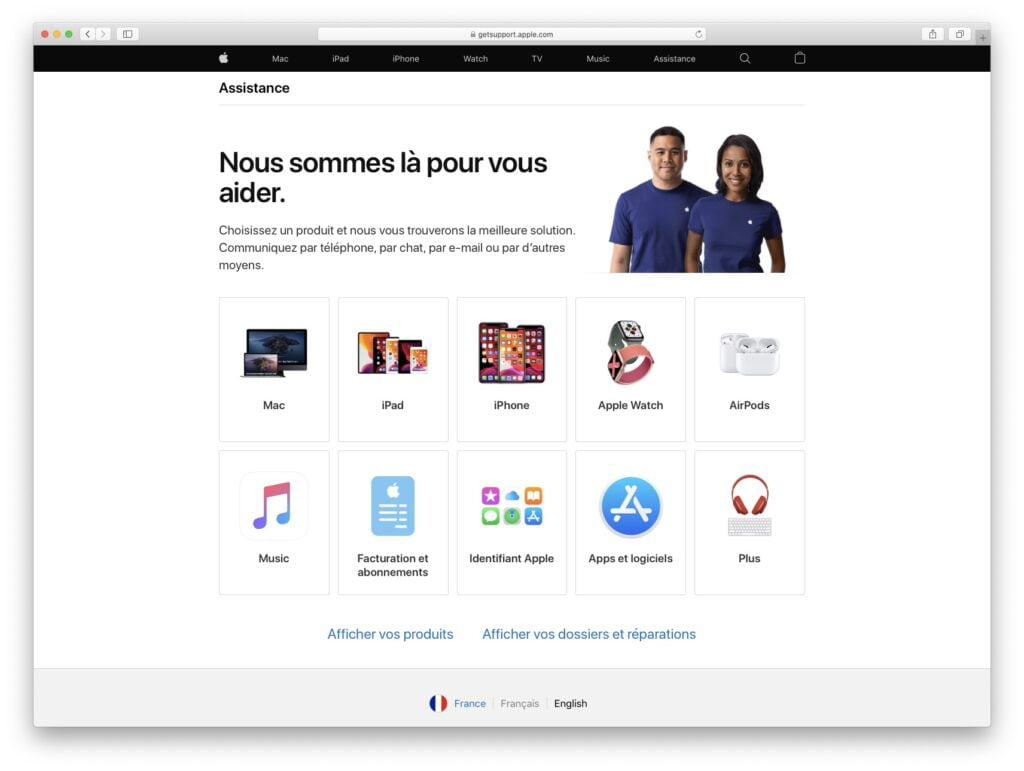 Contacter Apple par chat pour Mac iPhone iPad iPod