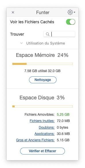afficher fichiers caches macos big sur avec Funter