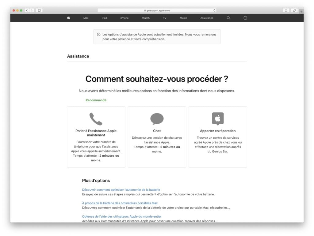 demarrer une session de chat avec lassistance apple