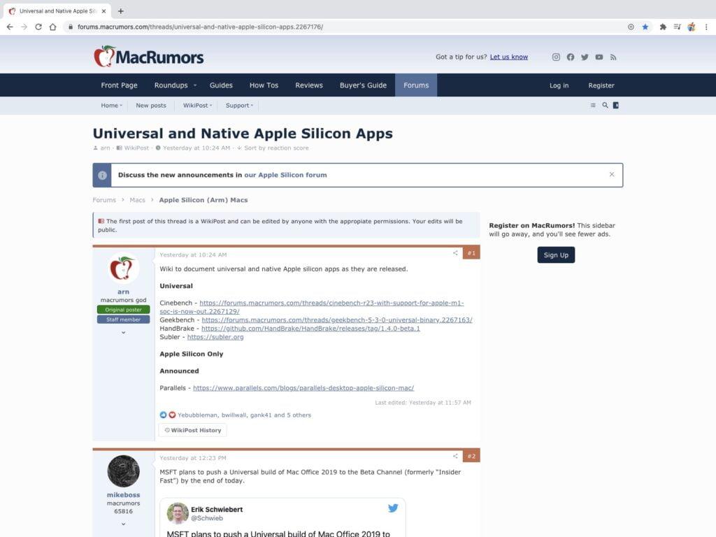 applications qui fonctionnent avec mac puce M1