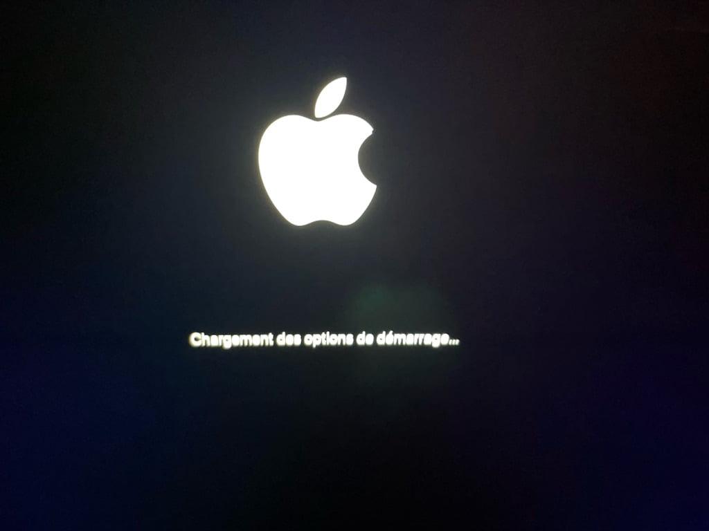 Utilitaire Securite au demarrage sur un Mac Apple Silicon chargement des options de demarrage