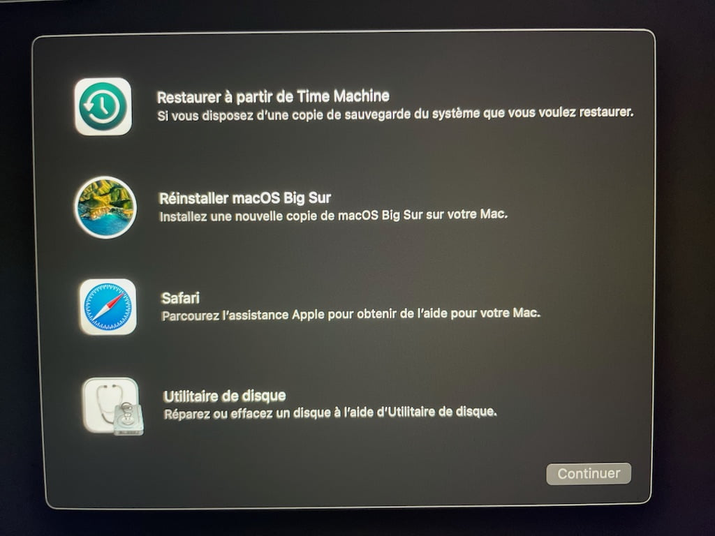 mode demarrage recovery Apple Mac Silicon options