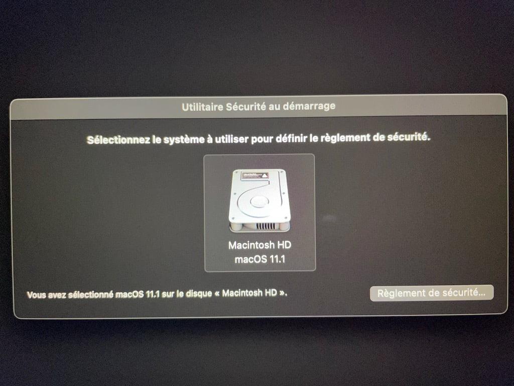 selectionner le systeme a utiliser pour definir le reglement de securite mac silicon
