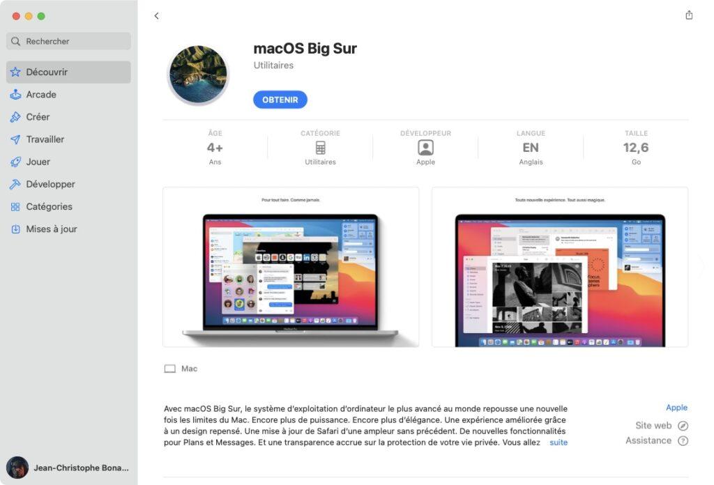 Retelecharger macOS Big Sur avec App Store
