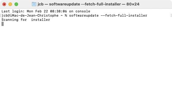 retelecharger big sur scanning for installer