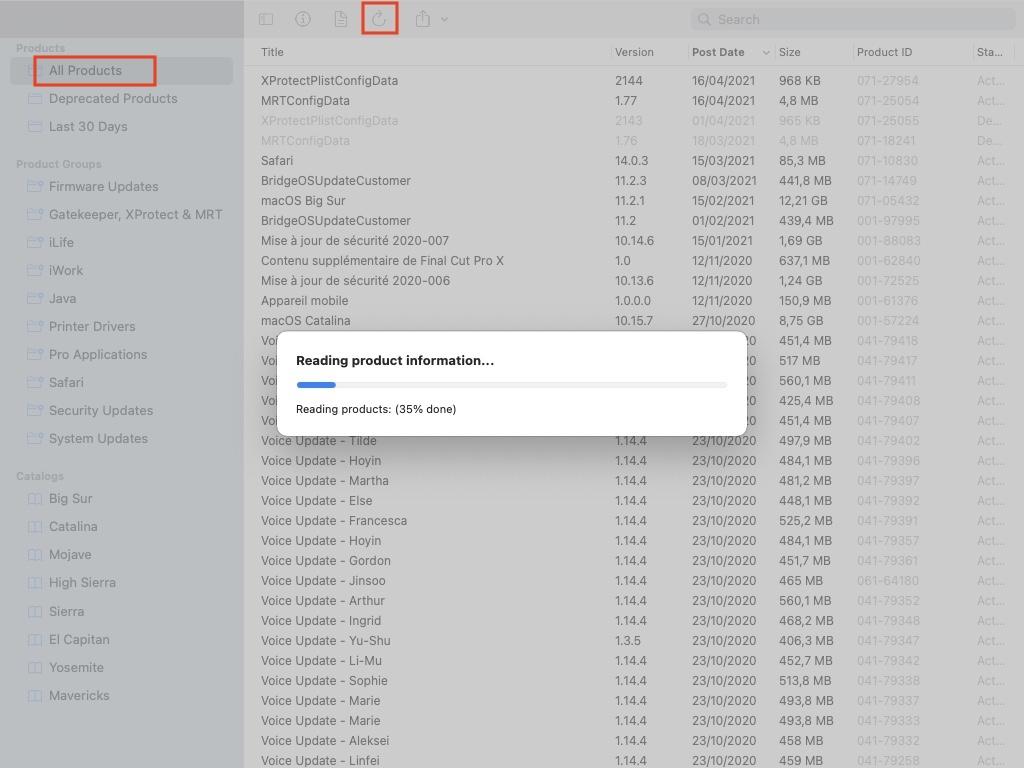 Telecharger macOS depuis les serveurs Apple Big Sur Catalina mojave high sierra sierra el capitan yosemite mavericks