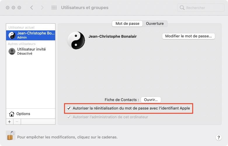 Autoriser la reinitialisation du mot de passe avec lidentifiant Apple