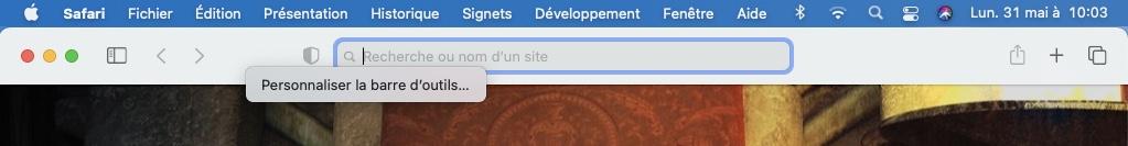 personnaliser la barre d outils de Safari sur Mac