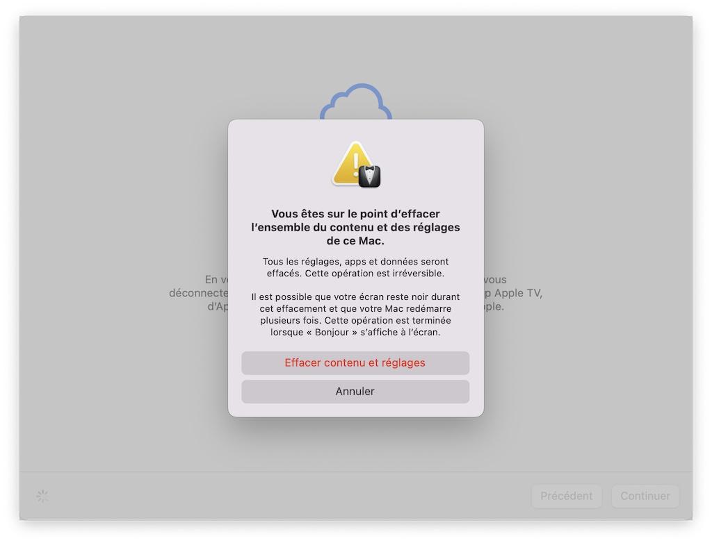formater mac macos monterey avant de le vendre avec fonction Effacer contenu reglages