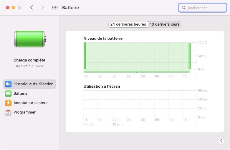 Historique dutilisation de la batterie mac